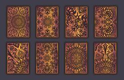 Card set with mosaic lace decorative elements background. Asian Indian oriental ornate banners. Royalty Free Stock Photos