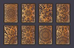 Card set with mosaic lace decorative elements background. Asian Indian oriental ornate banners. Card set with mosaic lace decorative elements background. Asian Royalty Free Stock Images