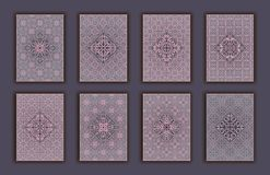 Card set with mosaic lace decorative elements background. Asian Indian oriental ornate banners. Card set with mosaic lace decorative elements background. Asian Stock Photos