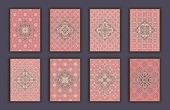 Card set with mosaic lace decorative elements background. Asian Indian oriental ornate banners. Card set with mosaic lace decorative elements background. Asian Royalty Free Stock Photography