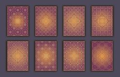 Card set with mosaic lace decorative elements background. Asian Indian oriental ornate banners. Card set with mosaic lace decorative elements background. Asian Stock Image