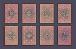 Card set with mosaic lace decorative elements background. Asian Indian oriental ornate banners. Card set with mosaic lace decorative elements background. Asian Royalty Free Stock Photo