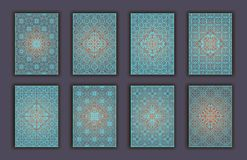 Card set with mosaic lace decorative elements background. Asian Indian oriental ornate banners. Card set with mosaic lace decorative elements background. Asian Stock Photo