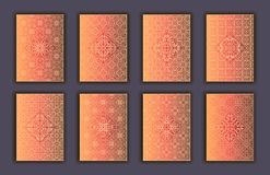 Card set with mosaic lace decorative elements background. Asian Indian oriental ornate banners. Card set with mosaic lace decorative elements background. Asian Royalty Free Stock Photos