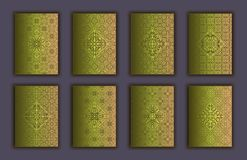 Card set with mosaic lace decorative elements background. Asian Indian oriental ornate banners. Card set with mosaic lace decorative elements background. Asian Stock Images