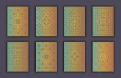 Card set with mosaic lace decorative elements background. Asian Indian oriental ornate banners. Card set with mosaic lace decorative elements background. Asian Stock Photography