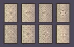 Card set with mosaic lace decorative elements background. Asian Indian oriental ornate banners. Card set with mosaic lace decorative elements background. Asian Royalty Free Stock Image