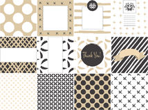 Card set template with seamless patterns in gold Royalty Free Stock Photography