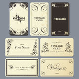 Card set in vintage style. Stock Photos