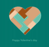 Card with sewed heart, Valentine card (vector). Retro designed sewed valentine's heart, vector Stock Photo