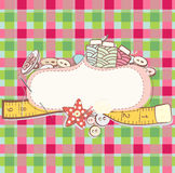 Card with sewing accesories Royalty Free Stock Photo