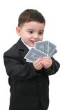 Card Shark 01. Two year old boy in a 3 piece suit holding what seems to be a very good hand.  Shot with the Canon 20D Stock Images