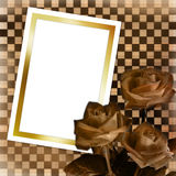 Card with sheet and bouquet of roses Stock Photo