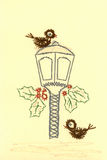 A card showing two birds beside a street lamp Stock Image