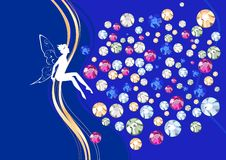 Card with silhouette of fairy. And rhinestones Royalty Free Stock Photography