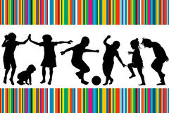 Card with silhouettes of children playing. And colored stripes Royalty Free Stock Photo