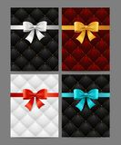 Card Silk Ribbon Bow And Quilted Background Set. Vector. Card Silk Ribbon Bow And Quilted Background Set Vip Luxury Style for Exclusive Congratulation on a Gray Stock Photo