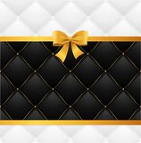 Card Silk Ribbon Bow And Quilted Background. Vector. Card Silk Ribbon Bow And Quilted Background Luxury Style for Vip Invitation Wedding, Party or Festive Stock Photo