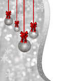 Card with silver Christmas baubles and red decorations. Card with silver glittering Christmas baubles, balls and red decorations, ornaments bow, ribbon on silver Stock Photos