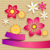 Card with simple flowers and ribbon Stock Images