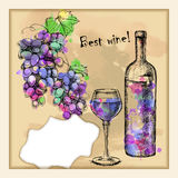 Card with sketch grapes, wine Royalty Free Stock Image