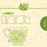 Card with sketched cute teapot for menu design or web template. Hand drawn colored cup with green tea. Royalty Free Stock Image