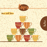 Card with sketched tea cups for menu design or web template. Hand drawn colored mugs with geometric ornament. Royalty Free Stock Photography
