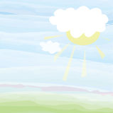 Card with sky and sun - pastel color illustration Royalty Free Stock Images