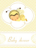 Card with sleeping baby girl in bee costume Royalty Free Stock Photography