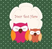 Card with sleeping owls Stock Photos