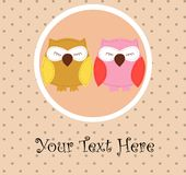 Card with sleeping owls for your design Royalty Free Stock Photos
