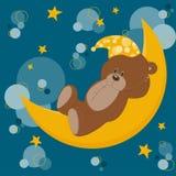 Card with sleeping teddy bear Royalty Free Stock Image
