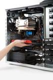 card slutdiagramhighen som sätter in den nya PCen till Royaltyfria Foton