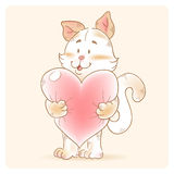 Card with smiling toy cat holding heart Royalty Free Stock Photos