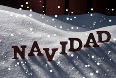 Card With Snow And Word Navidad Mean Christmas, Snowflakes Royalty Free Stock Photography