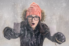 With card in snowfall Royalty Free Stock Photos