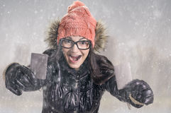 With card in snowfall Stock Images