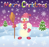 Card with snowman Royalty Free Stock Photography