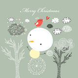 Card with snowman Stock Photos