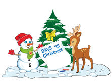 Card with snowman and baby deer looking at the sheet of advent calendar. Royalty Free Stock Image