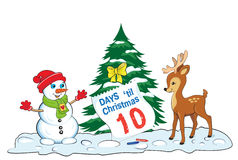 Card with snowman and baby deer looking at the sheet of advent calendar. Stock Photo