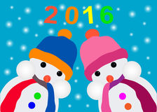 Card with a snowman Royalty Free Stock Images