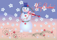 Card Snowman the Violinist Royalty Free Stock Photo