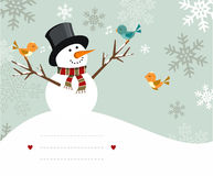 card snowmanen Royaltyfri Fotografi
