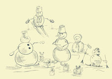 Card with snowmans. Card with illustration of snowmans Royalty Free Stock Photos