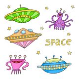 Card with space objects - ufo rockets, aliens and stars. Hand-drawn elements in space theme Royalty Free Stock Photography