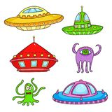 Card with space objects, ufo rockets, aliens and stars. Hand-drawn elements in space theme Stock Images