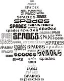 Card spades. Shape of black card spades suits made of words Royalty Free Stock Photography