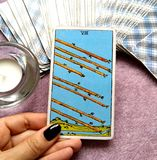 The Eight VIII of Wands Tarot Card. This card is about Speed, Action, Movement, Activity, Haste, Hurry, Rush and Race stock image