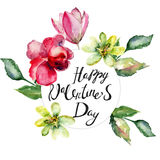 Card with spring flowers and title Happy Valentine's day Royalty Free Stock Image